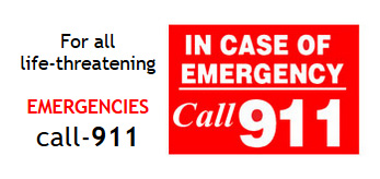 In case of Emergency call 911